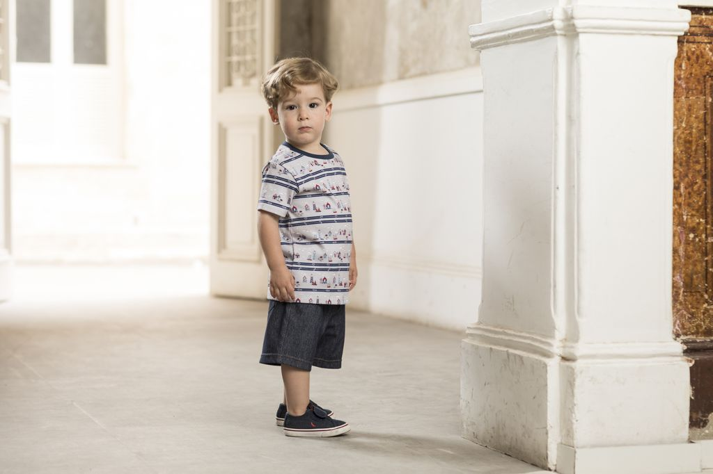 Conjunto Masculino Camisa Estampada Farol + Bermuda Jeans