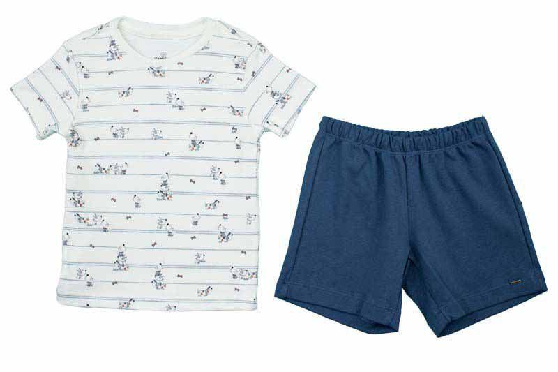 Conjunto Curto Masculino Camisa + Bermuda Estampa Dog Bebê