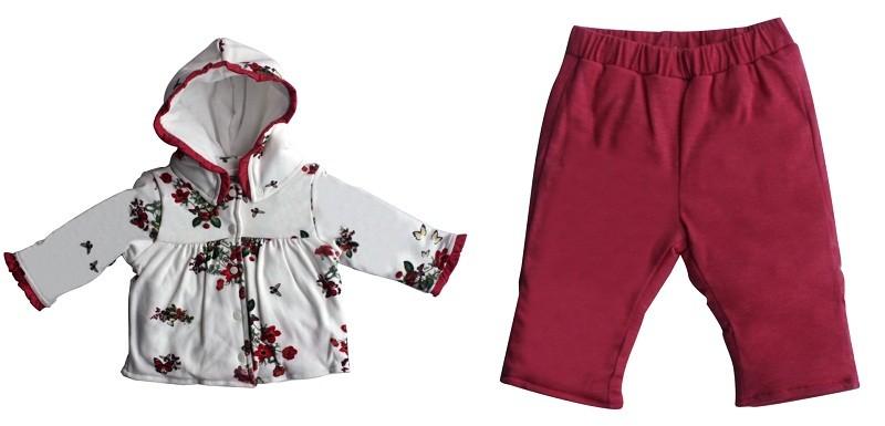 Conjunto Feminino Fofinho Casaco + Calça Red Flowers