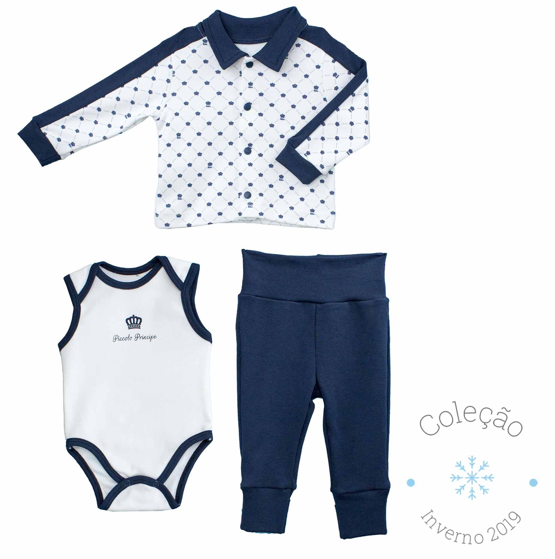 Conjunto Masculino 3 peças Casaco + Body + Calça Estampa Digital Pequeno Príncipe Algodão Egípcio