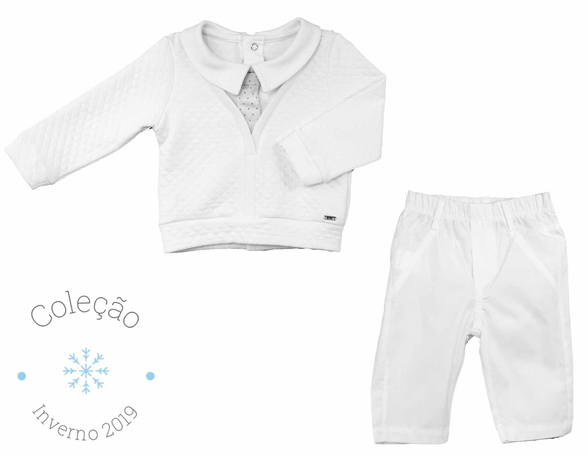 Conjunto Masculino Batizado Falsa Camisa Matelassê e Tricoline