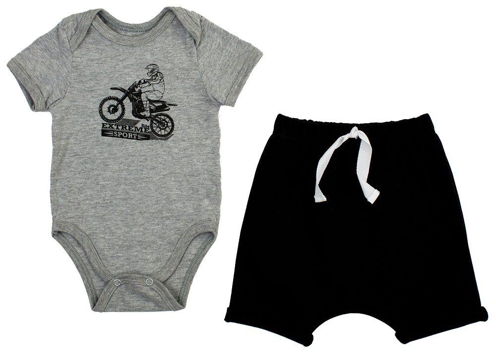 Conjunto Masculino Body ombro envelope + Short Motocicle.