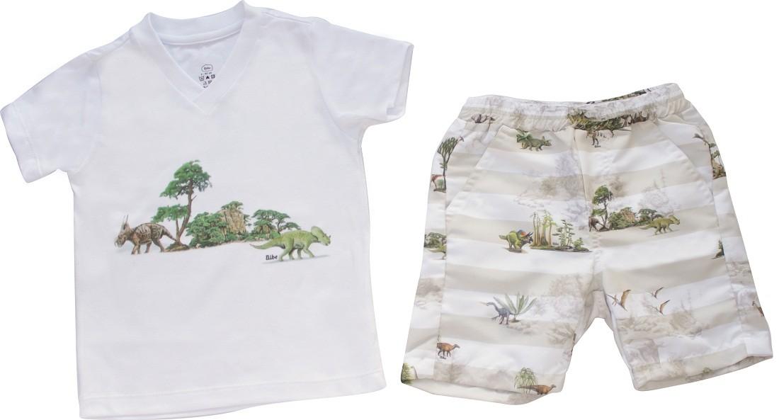 Conjunto Masculino Camisa+Bermuda Dinossauros