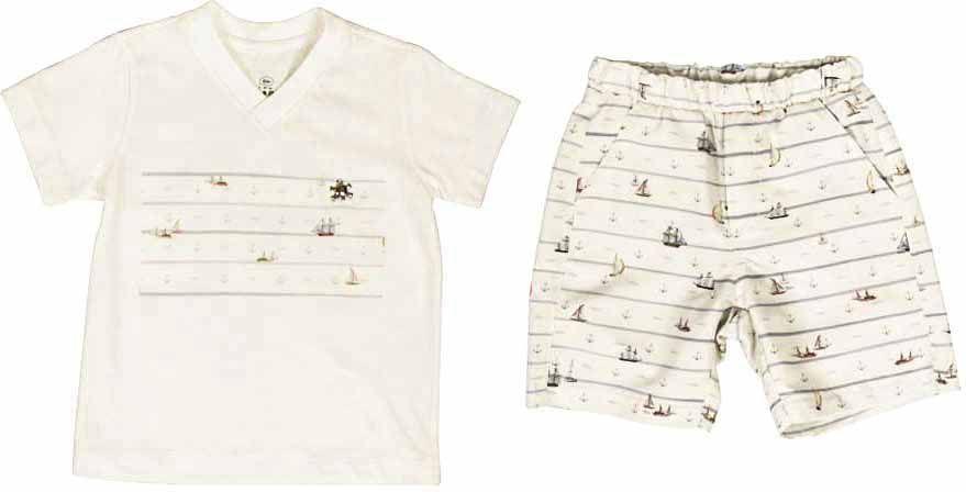 Conjunto Masculino Camisa + Bermuda Nas Ondas do Mar