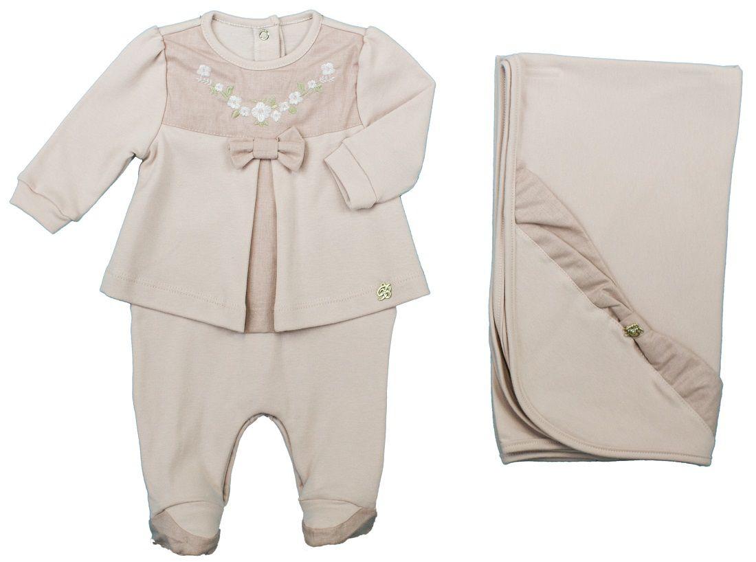 Conjunto Maternidade Feminino Com Forro Rosa Seco + Linho