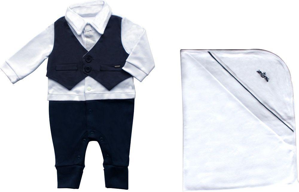 Conjunto Maternidade Masculino Com Forro Algodão Egípcio Com colete Marinho
