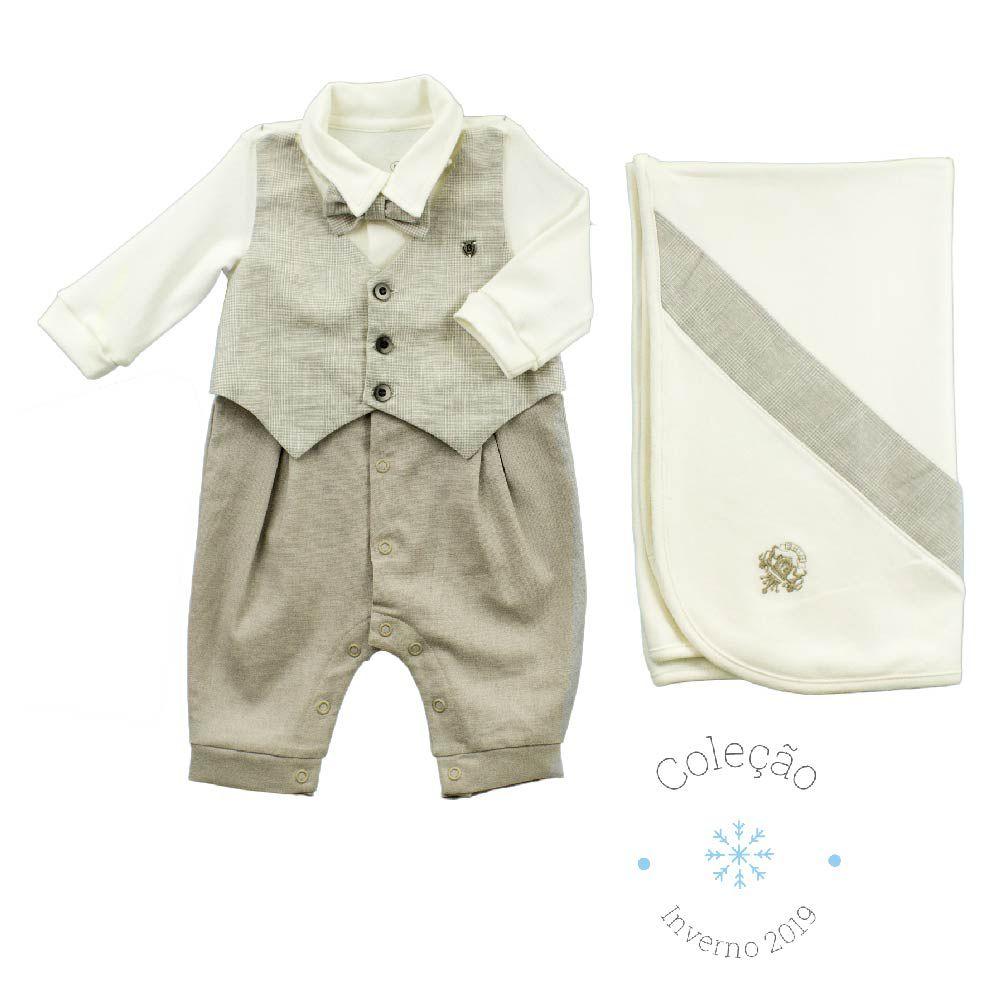 Conjunto Maternidade Masculino Sem Forro Colete em Linho Príncipe De Gales 100% Algodão