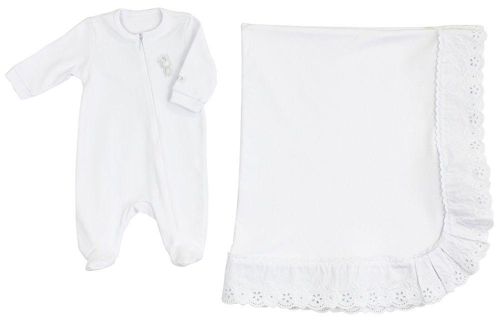 Conjunto Maternidade Unissex Babado Branco
