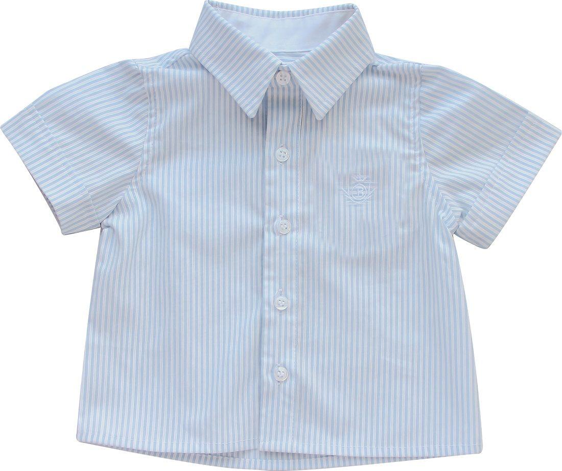 Camisa Manga Curta Listras Celeste Tricoline