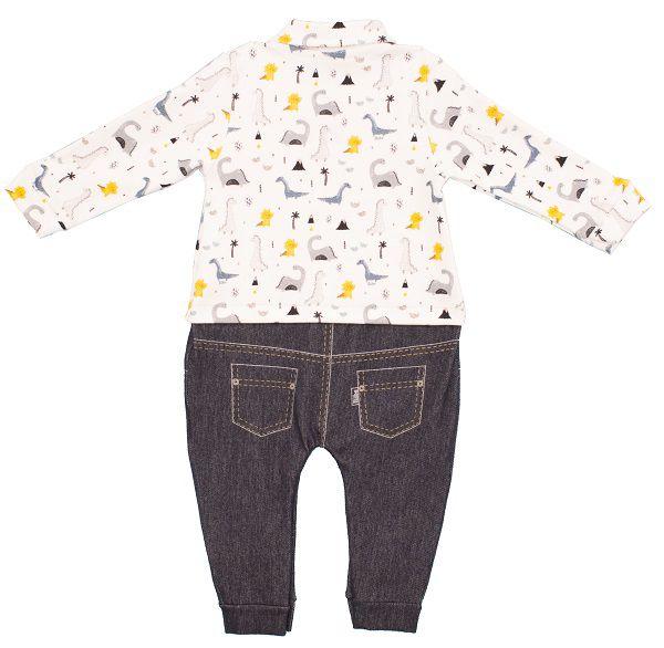 Macacão Bebê Manga Longa Algodão Egípcio+ Jeans menino Brontossauro