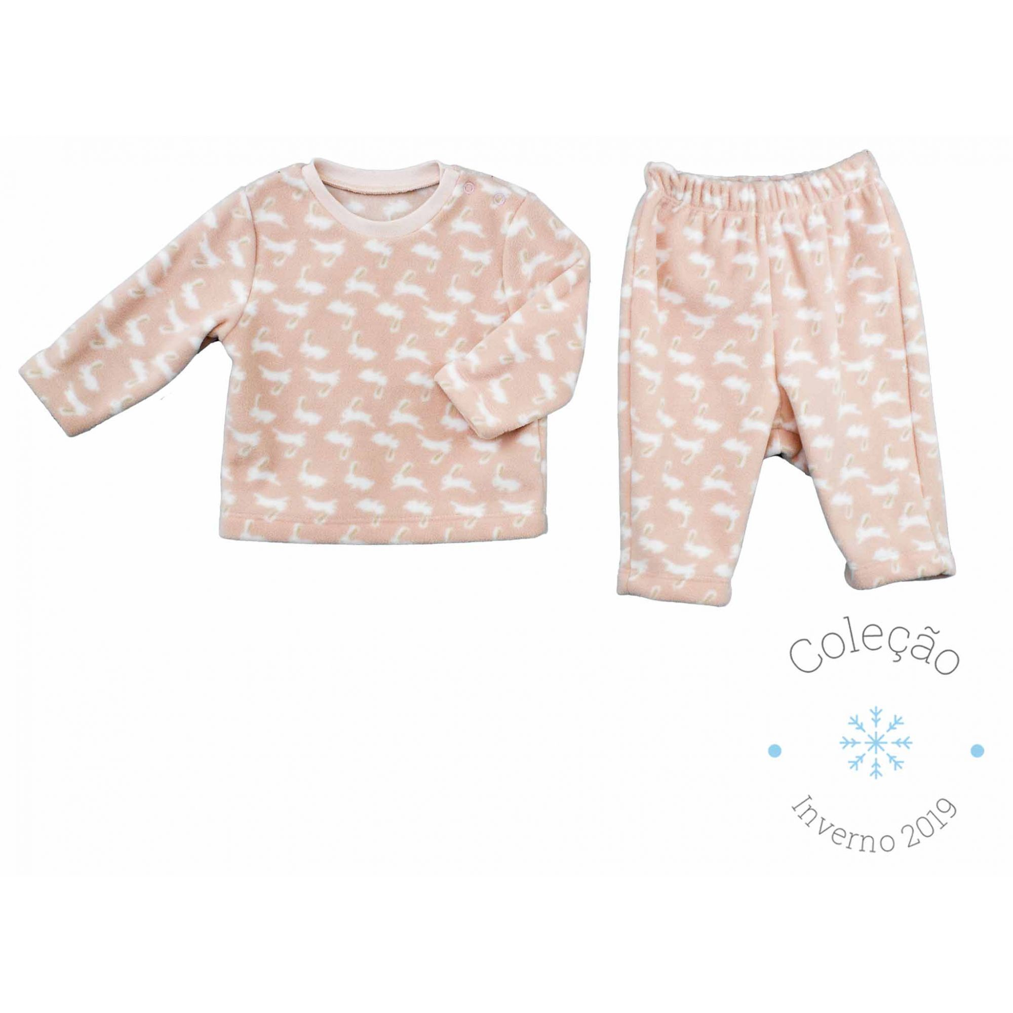 Pijama Feminino Soft  Estampa Coelhinhos Infantil