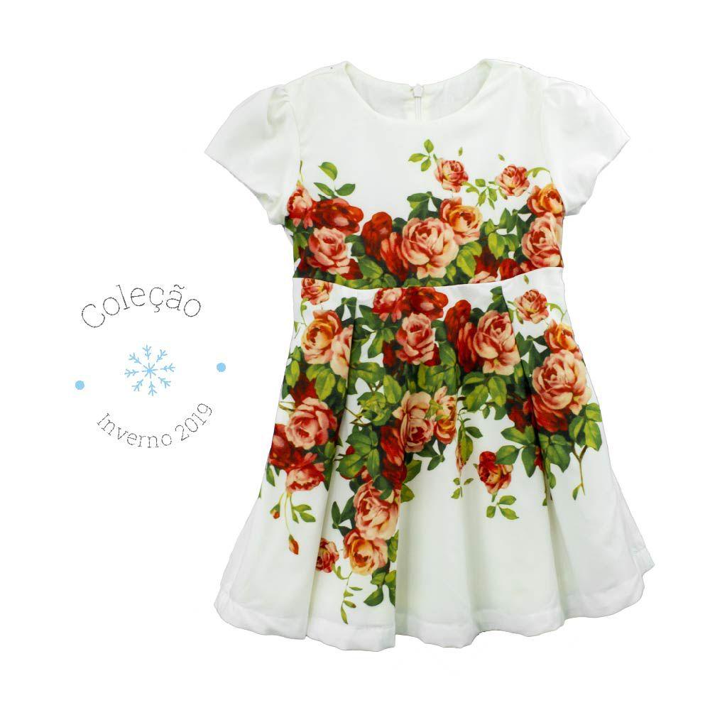 Vestido Feminino  Manga Curta Seda Paris Estampa Digital  Floral Liberty Infantil