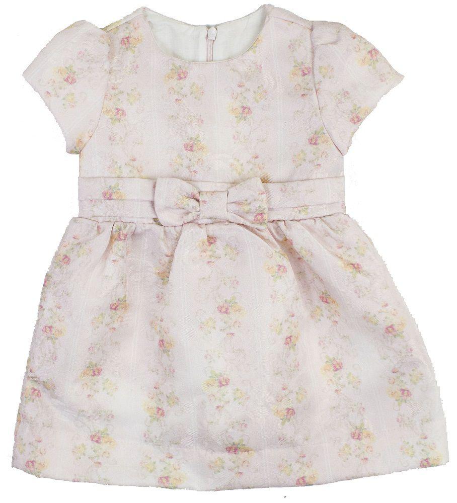 Vestido Manga Curta Adamascado Estampa Digital Floral Listrado Bebê.