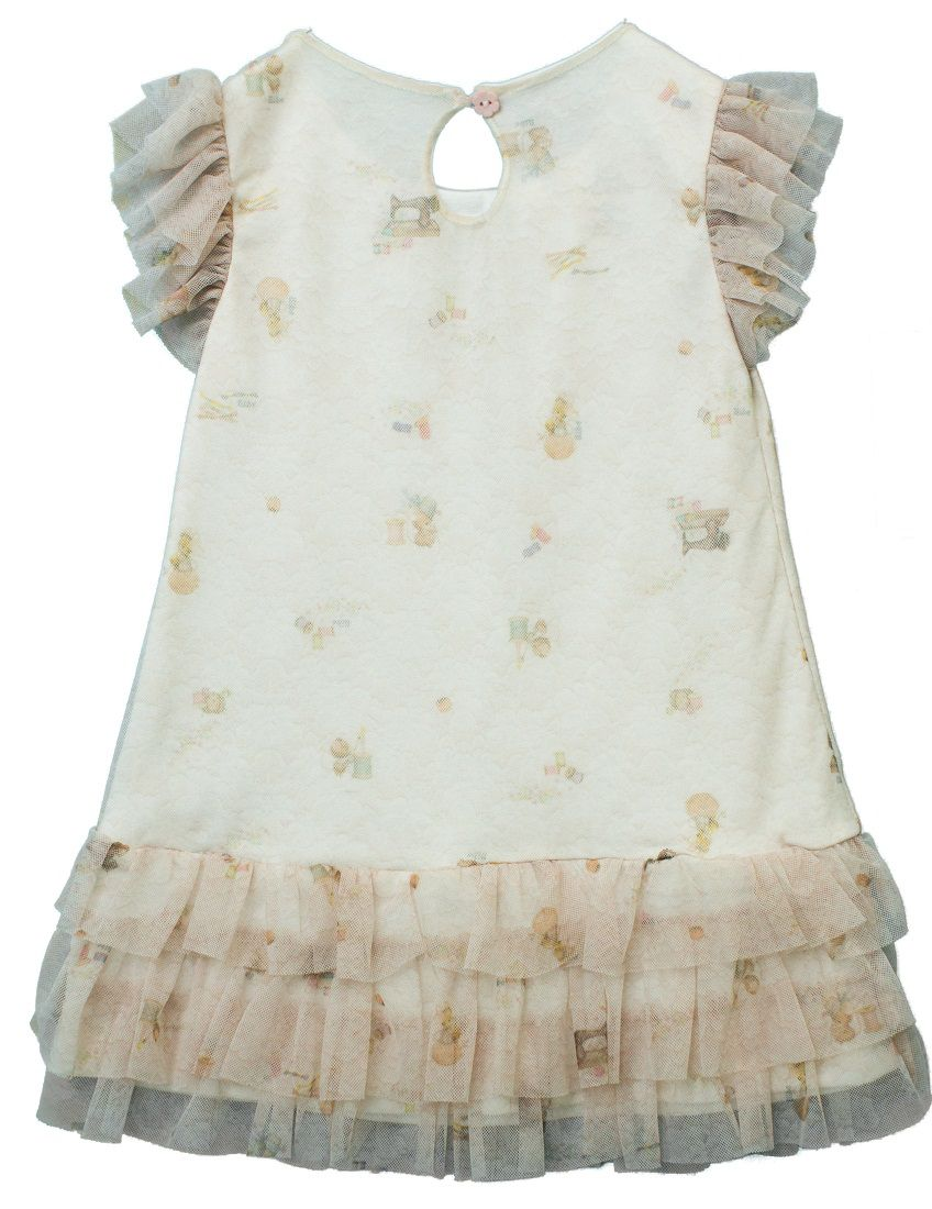 Vestido Manga Curta Tule Estampa Costurinha Infantil