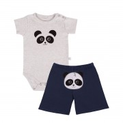 KIT BODY MANGA CURTA E SHORTS PANDA MARINHO