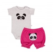 KIT BODY MANGA CURTA E SHORTS PANDA PINK