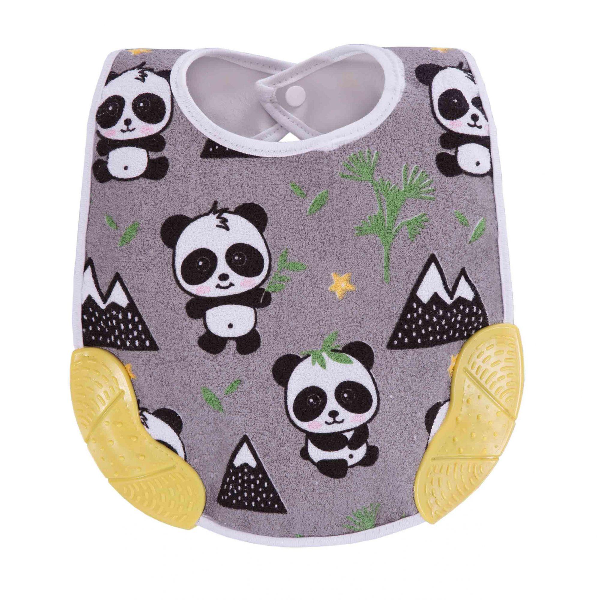 Babador com Mordedor Panda Amarelo