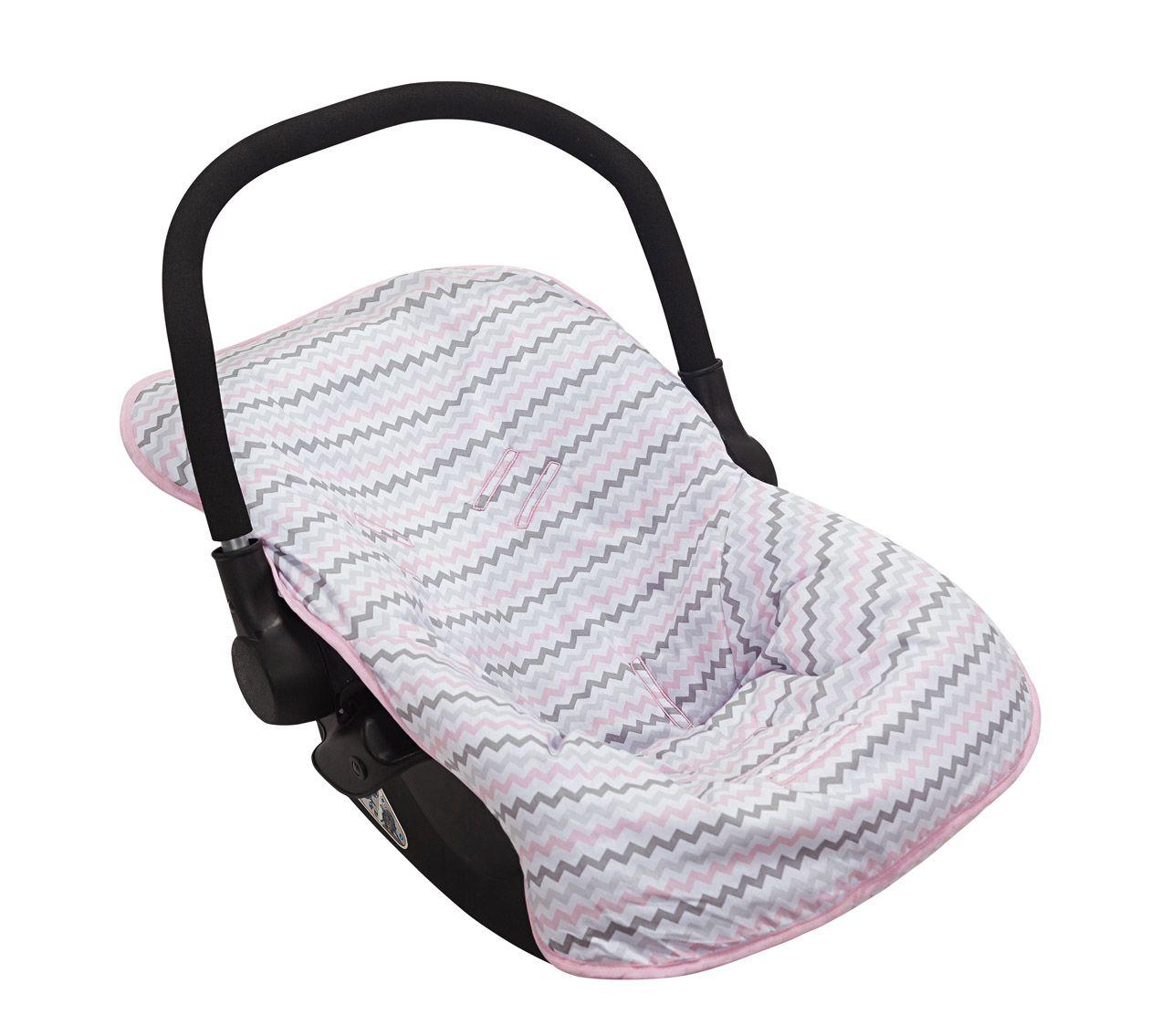 Capa para Bebê Conforto Chevron Rosa