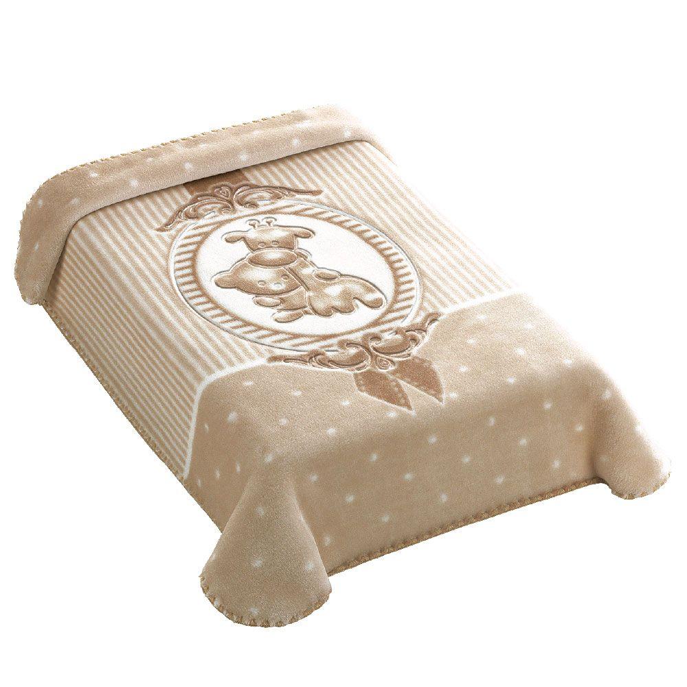Cobertor Premium Estampado com Relevo Camafeu Bege