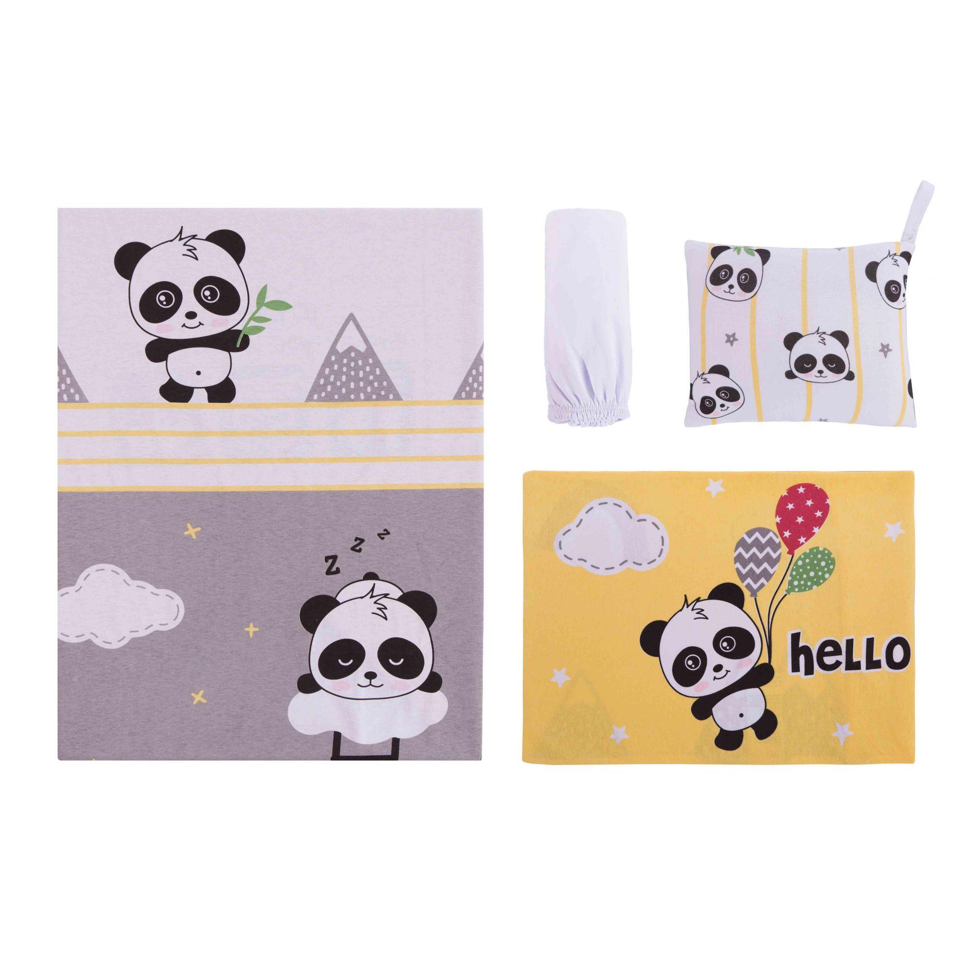 Jogo de Lençol Estampado para Carrinho Panda Amarelo