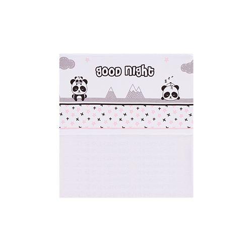 Jogo de Lençol Estampado para Berço Panda Rosa
