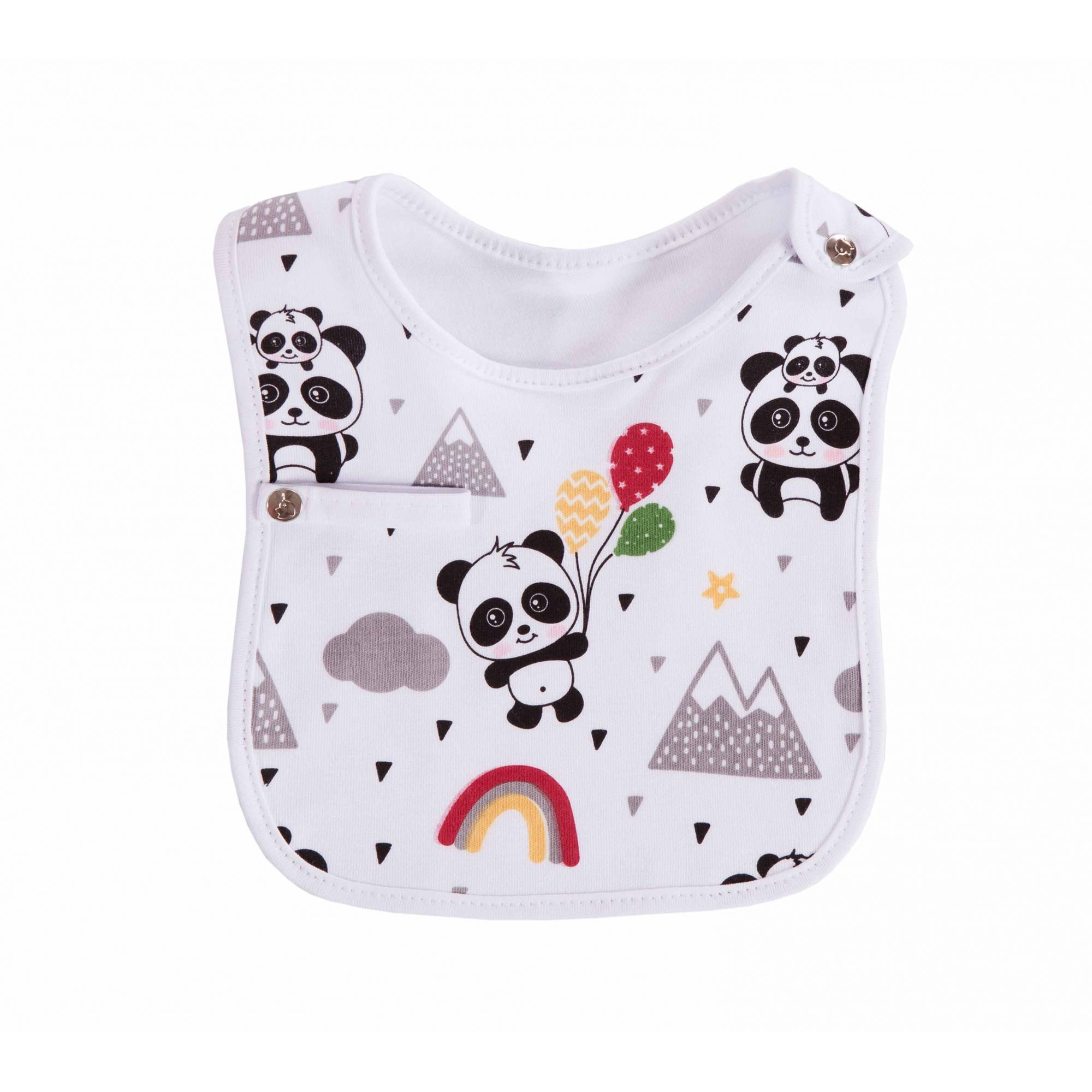 Kit Body, Pano de Ombro e Babador Panda