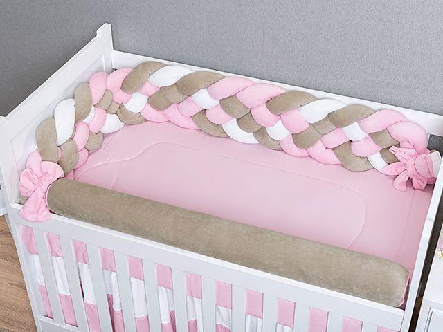 Kit Berço Trança Plush Rosa