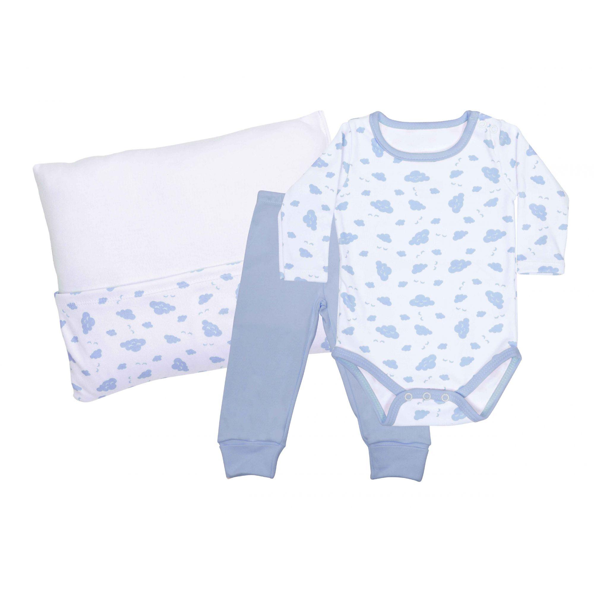 Kit Pijama Body Manga Longa, Calça e Travesseiro Azul