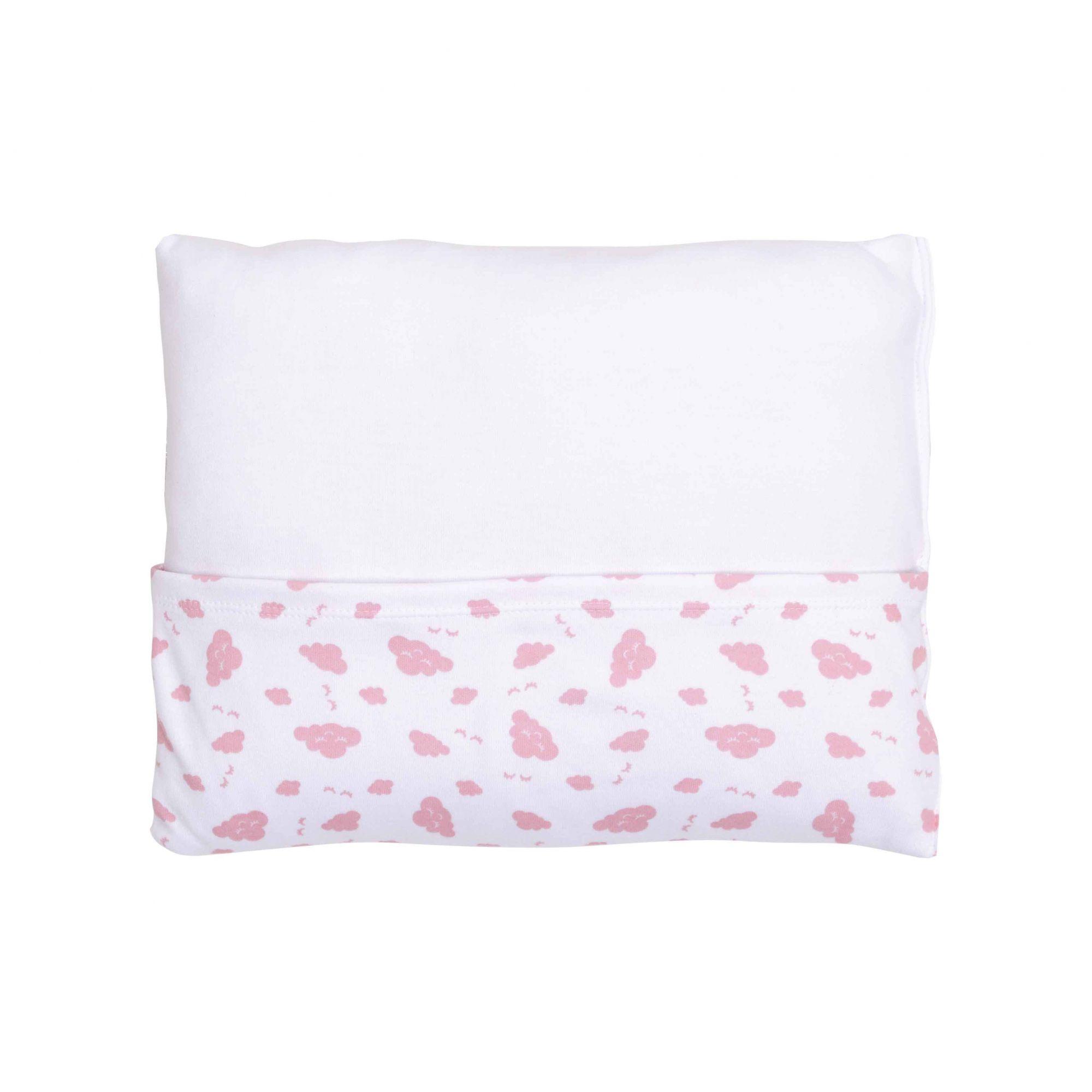 Kit Pijama Body Manga Longa, Calça e Travesseiro Rosa