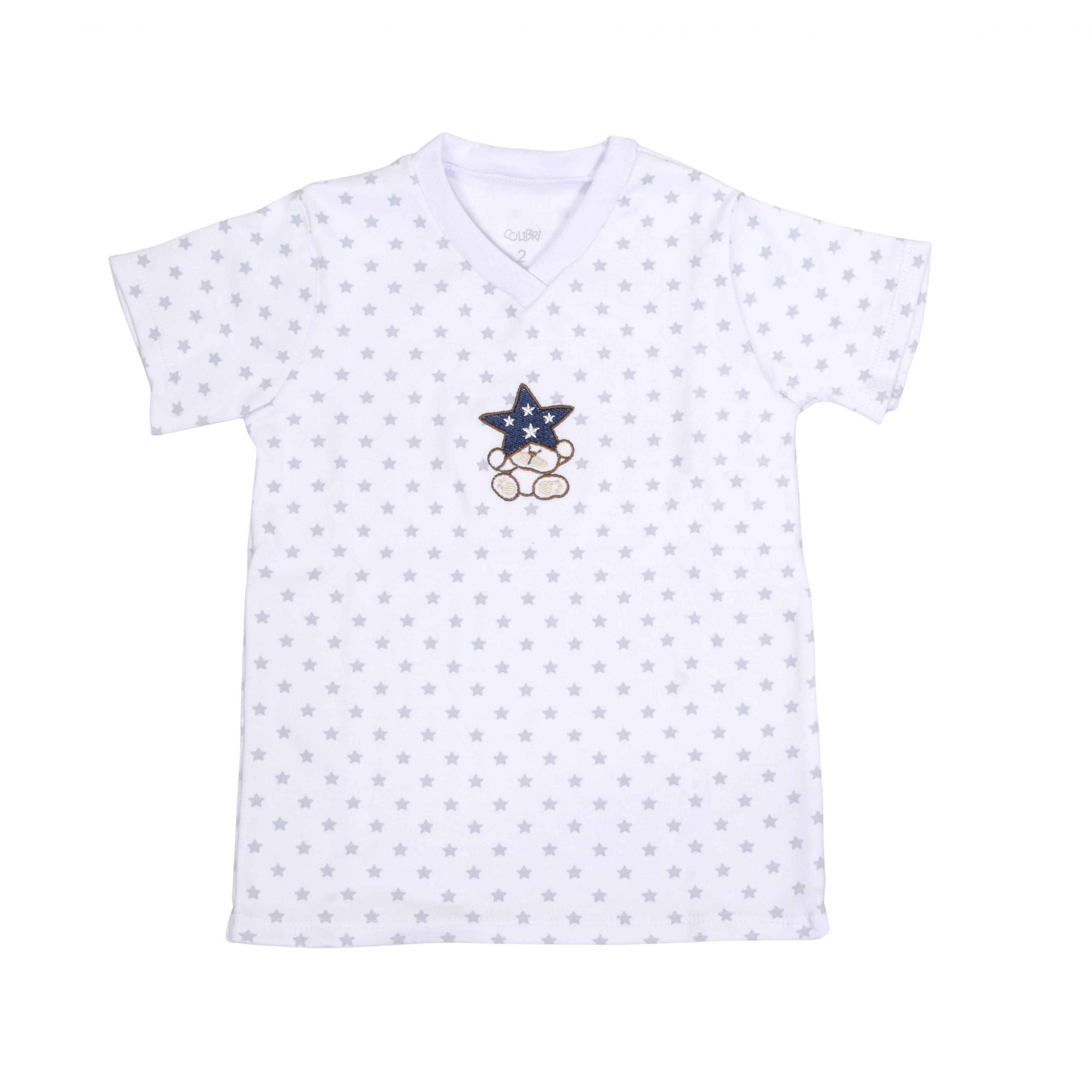 Kit Pijama Camiseta Manga Curta e Bermuda Marinho