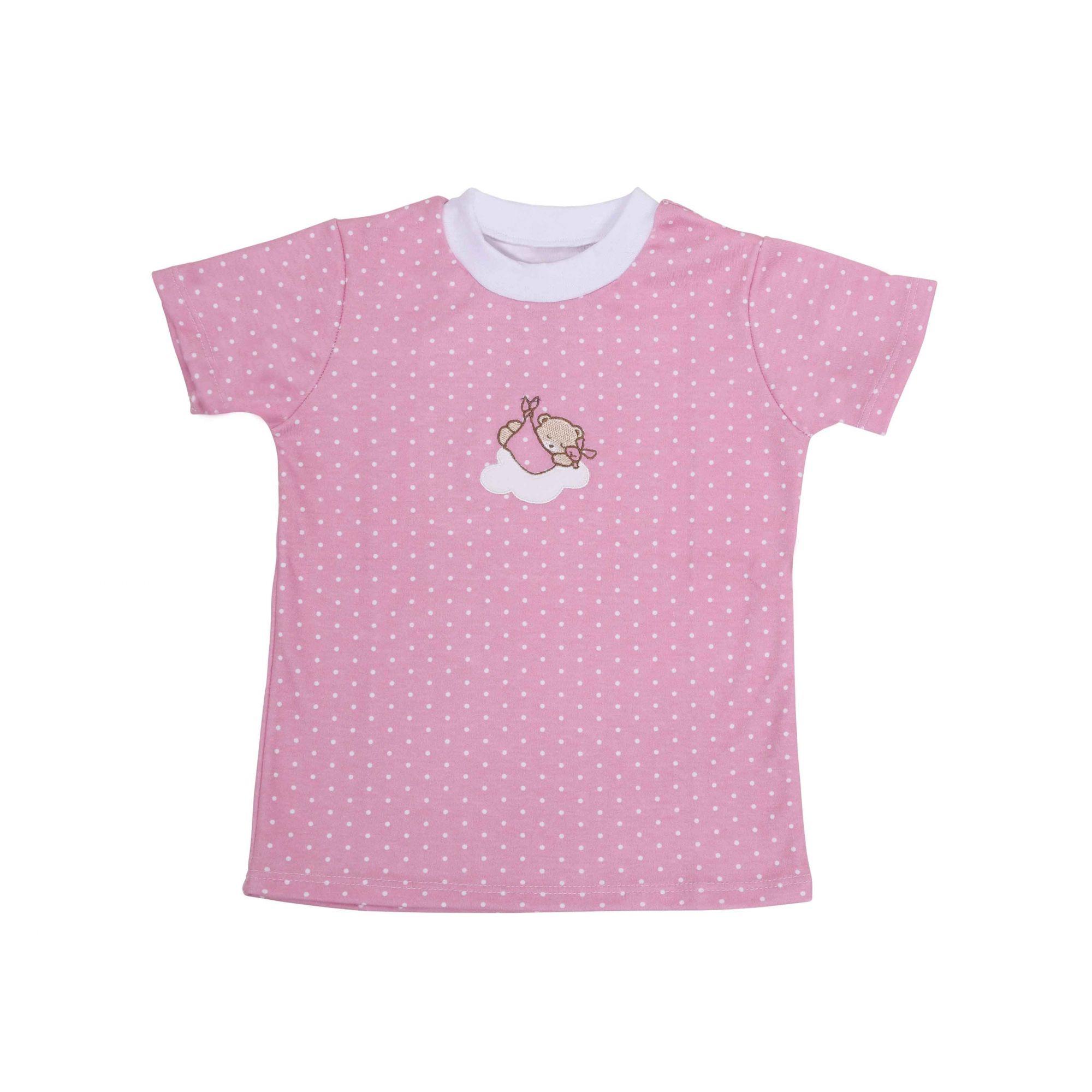 Kit Pijama Camiseta Manga Curta e Calça Rosa