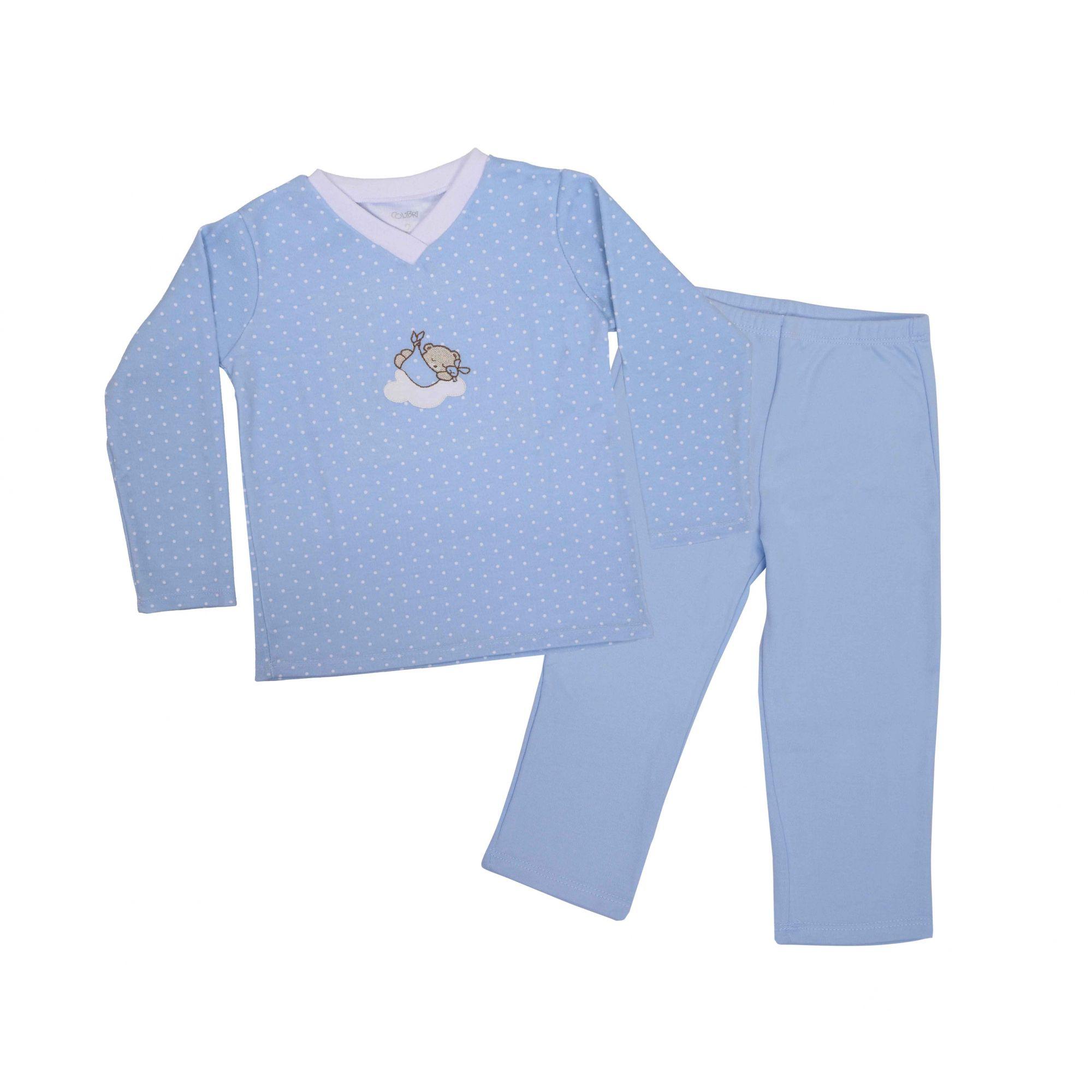 Kit Pijama Camiseta Manga Longa e Calça Azul
