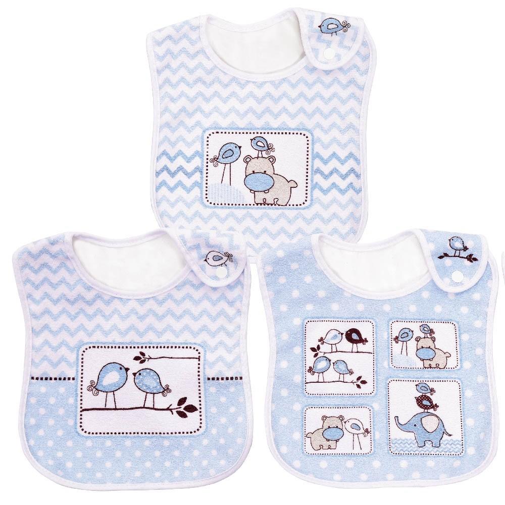 Pack 3 Babadores Amiguinhos Azul
