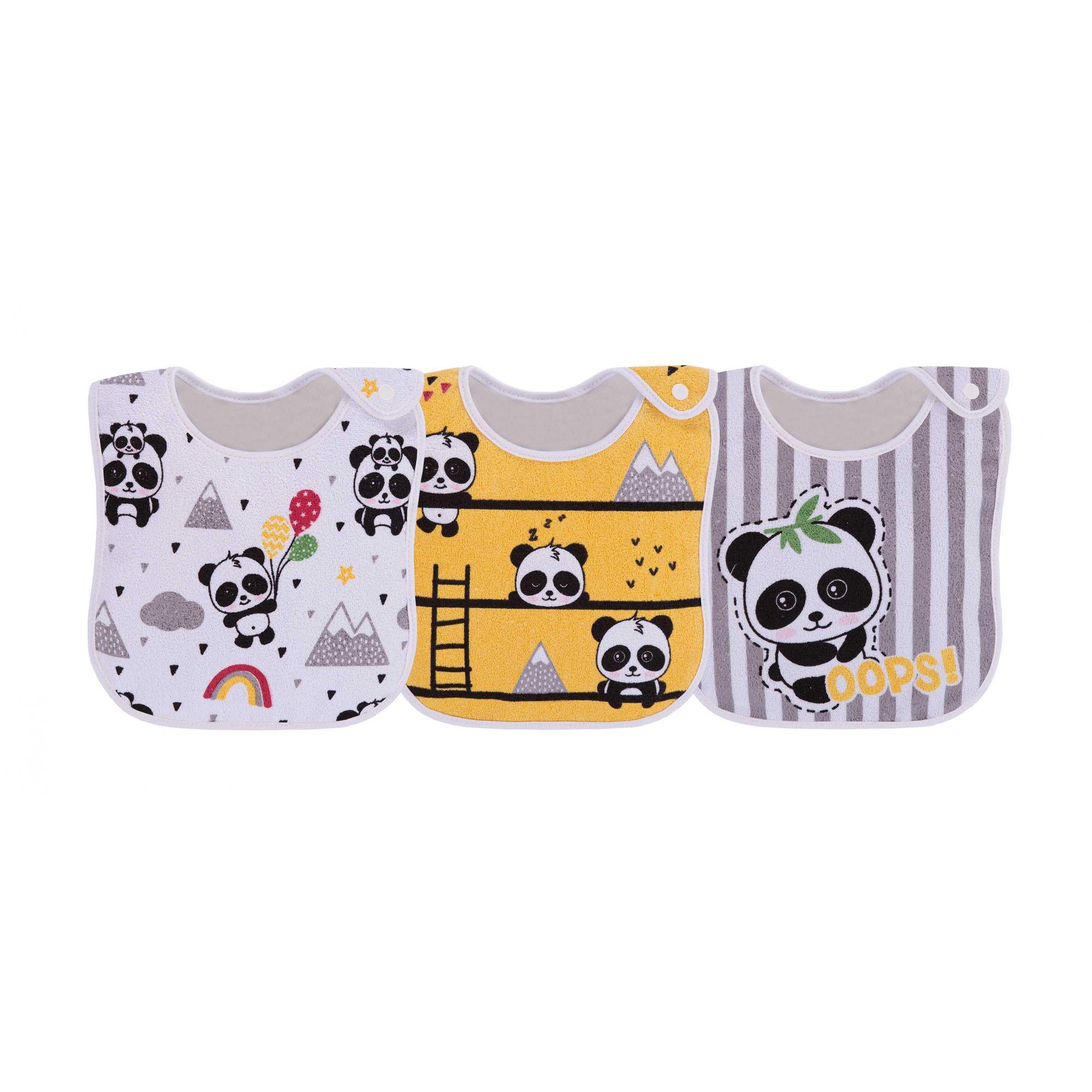 Pack 3 Babadores Panda Amarelo