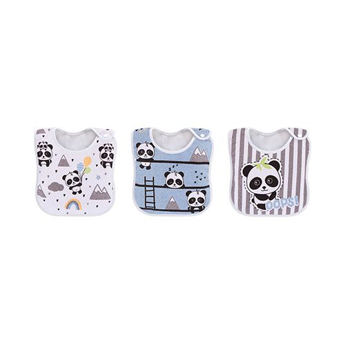 Pack 3 Babadores Panda Azul