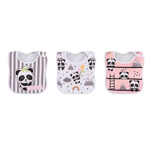 Pack 3 Babadores Panda Rosa