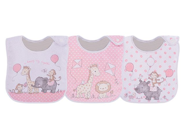 Pack 3 Babadores Zoo Rosa