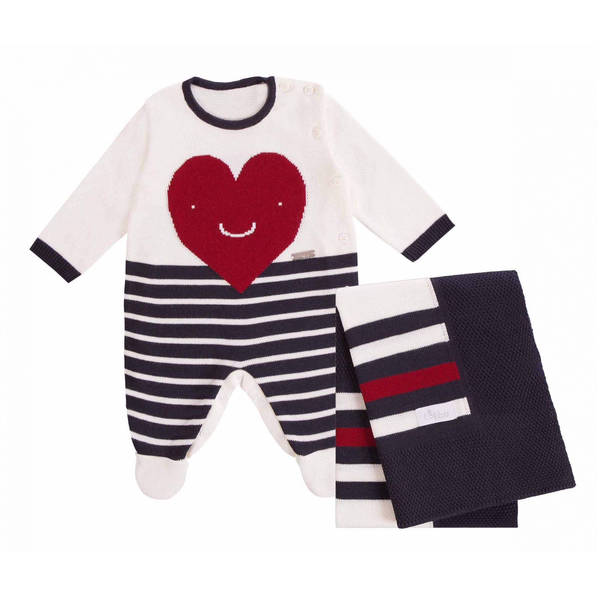 Saída Maternidade Macacão Listrado Coração 2 Peças