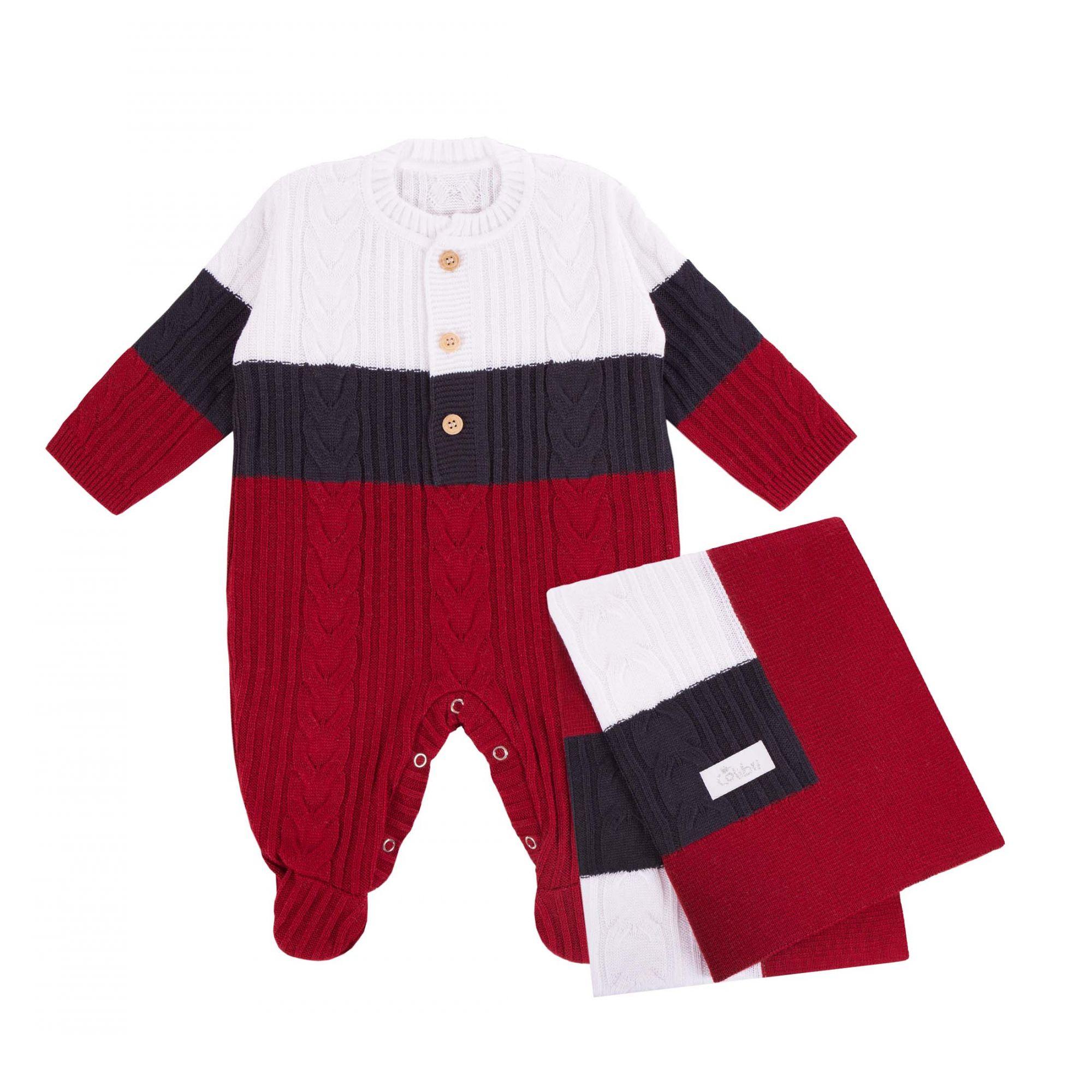 Saída Maternidade Macacão Tricolor Tranças 2 Peças