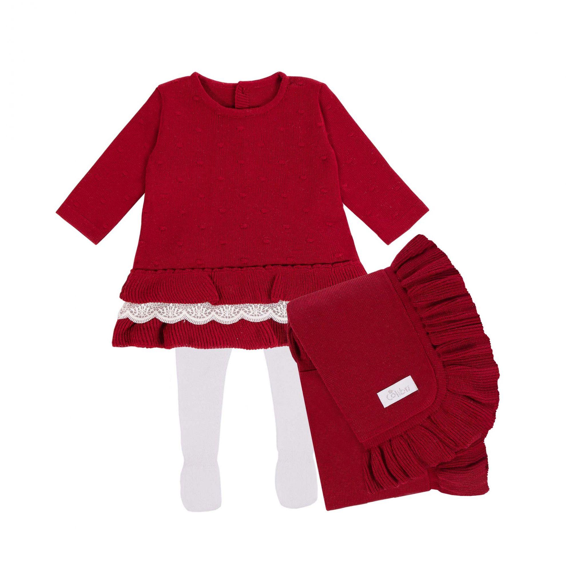 Saída Maternidade Vestido com Babado 3 Peças