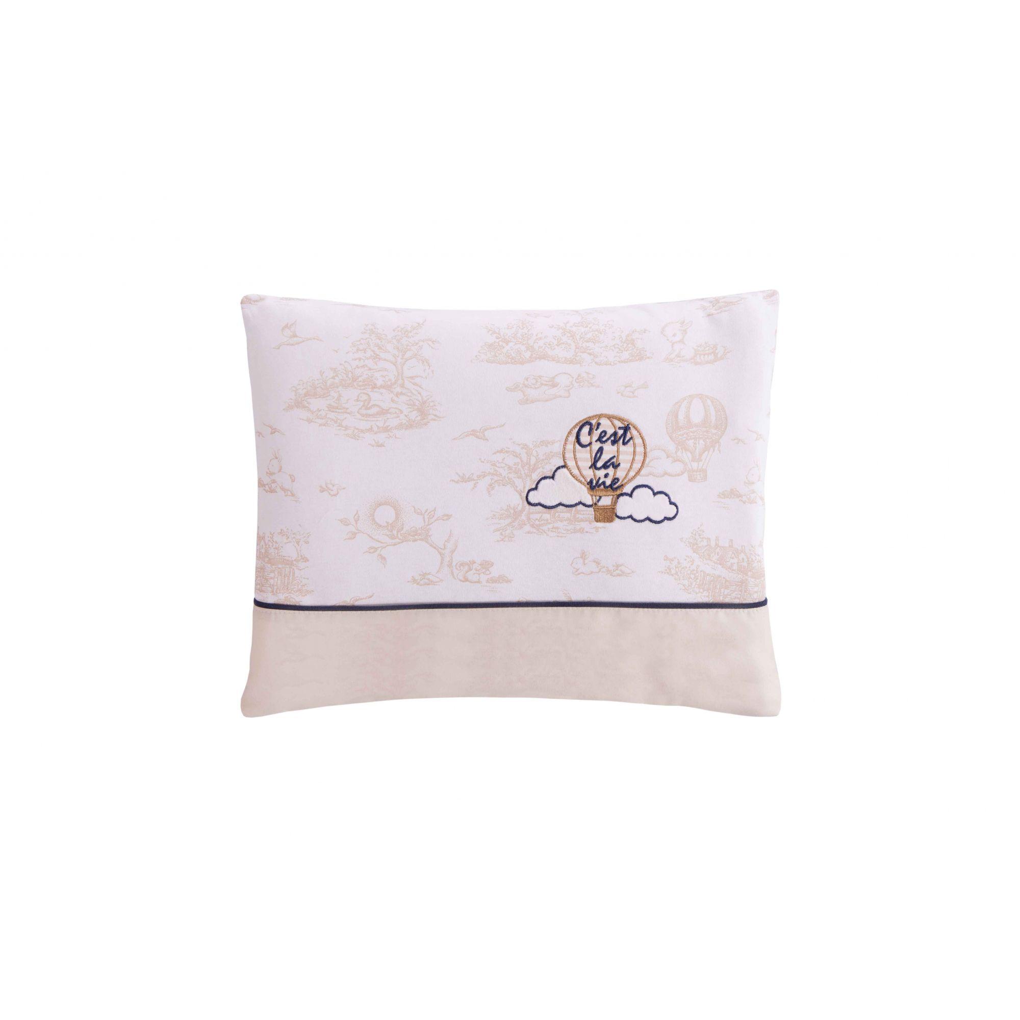 Travesseiro Com Fronha Bordada Le Paysage Balão Bege