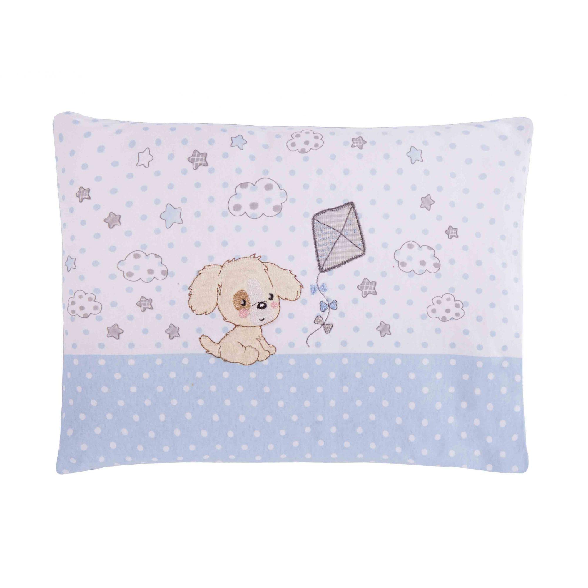 Travesseiro Com Fronha Bordada Cachorrinho Azul