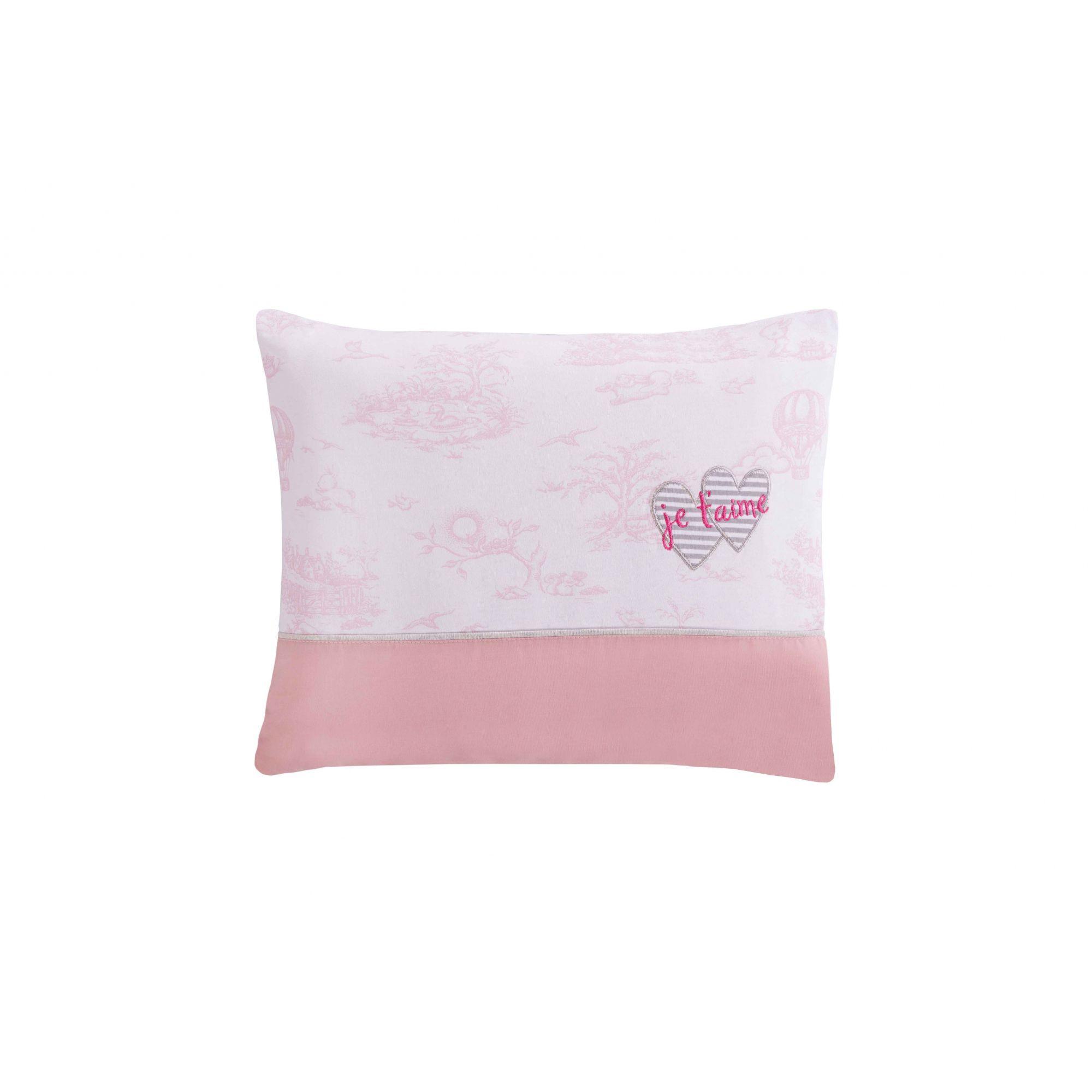 Travesseiro Com Fronha Bordada Le Paysage Coração Rosa