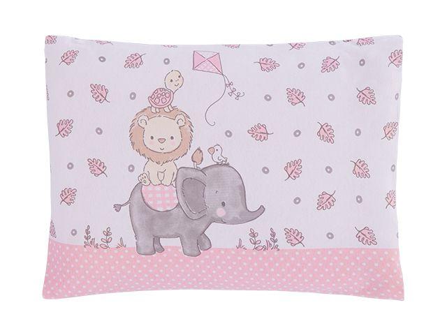 Travesseiro Com Fronha Estampada Zoo Rosa