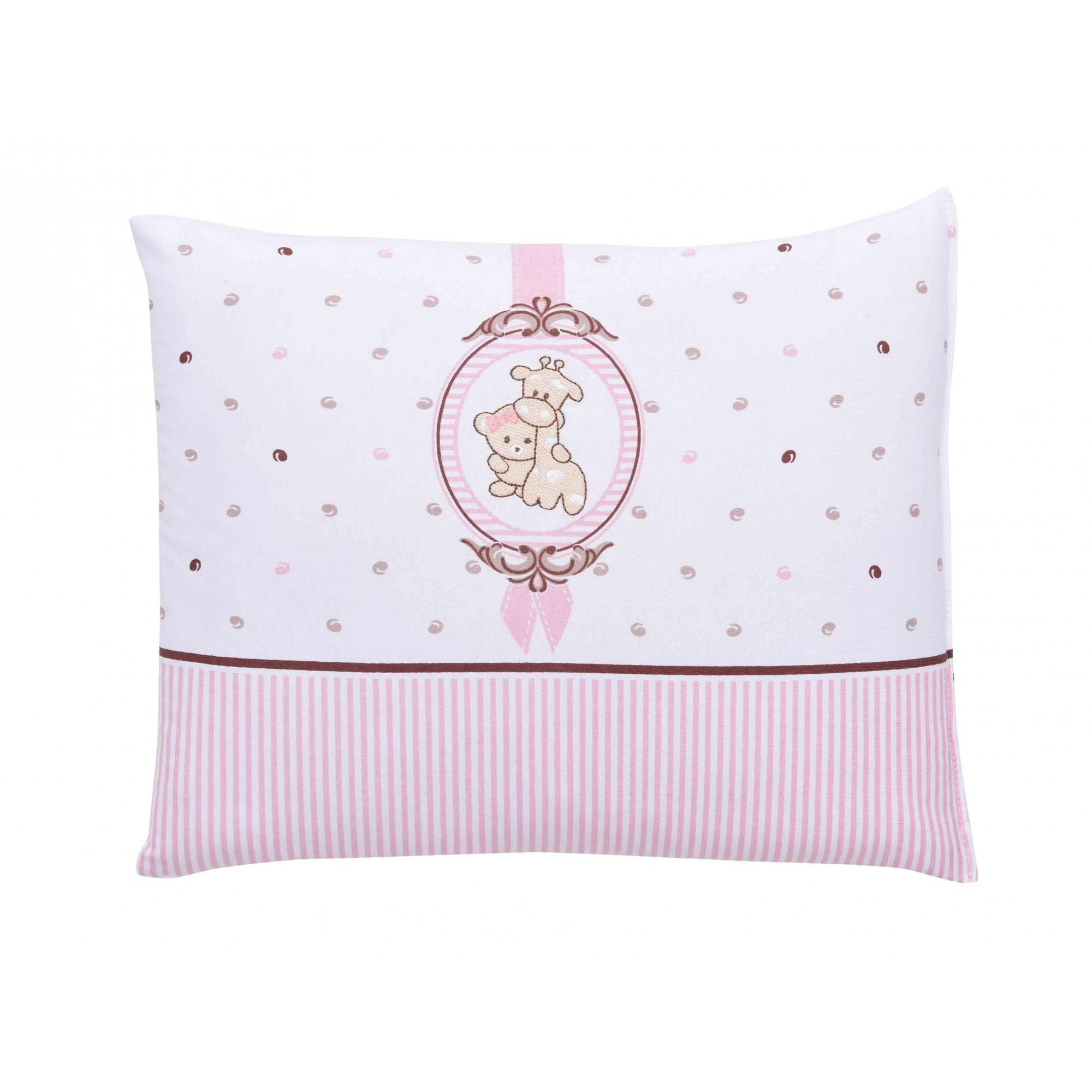 Travesseiro Com Fronha Bordada Camafeu Rosa