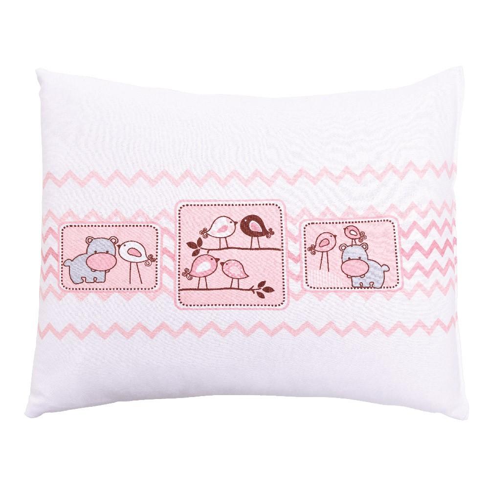 Travesseiro Com Fronha Estampada Amiguinhos Rosa