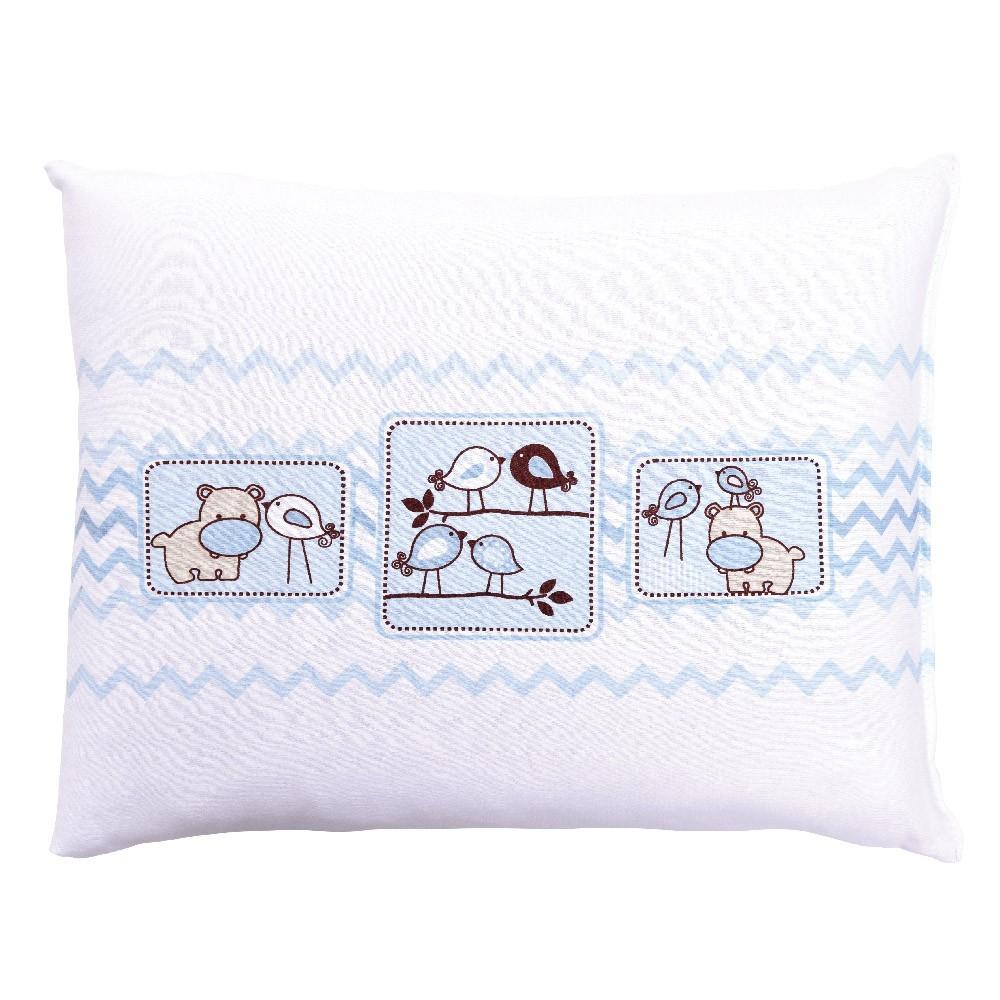 Travesseiro Com Fronha Estampada Amiguinhos Azul