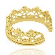 Anel Falange Coroa de Coração Ajustável Folheado a Ouro 18k