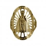 Anel Nossa Senhora Aparecida com Detalhes Vazados Folheado a Ouro 18k