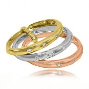 Anel Triplo Micro Zircônias Folheado Ouro 18k + Rosé + Prata